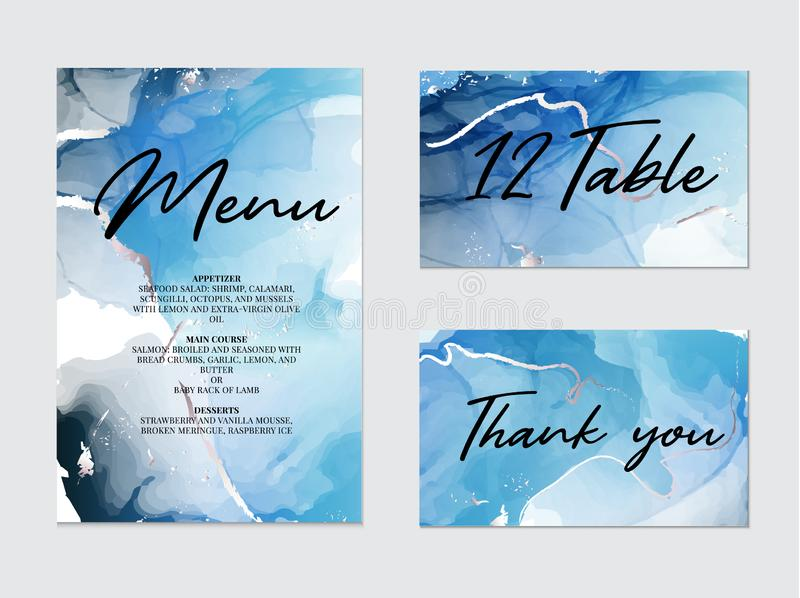 Mixture of acrylic paints for wedding decoration, meny, table, thank you card. Liquid marble texture. Fluid art stock illustration