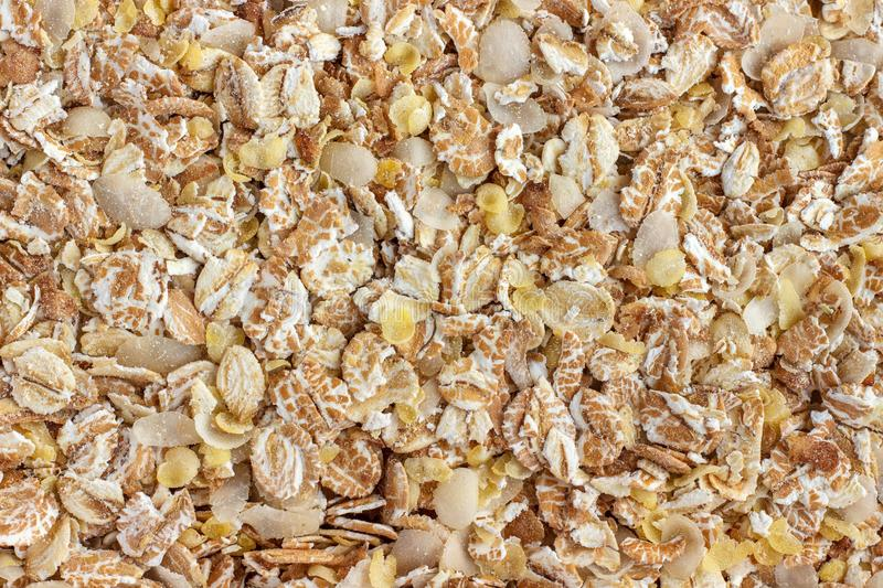 Mixture of cereal flakes. Background, texture royalty free stock images