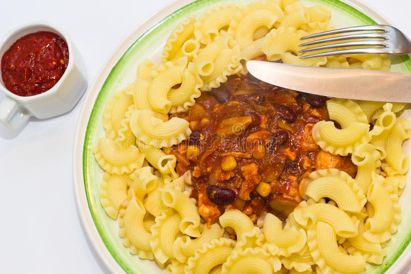 Chicken mixture with pasta royalty free stock photo