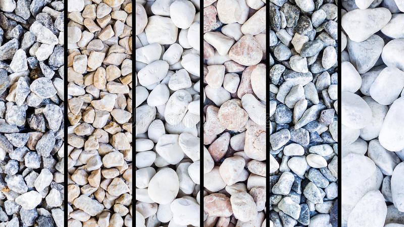 Mixture of different stone types, black vertical stripes stock photo