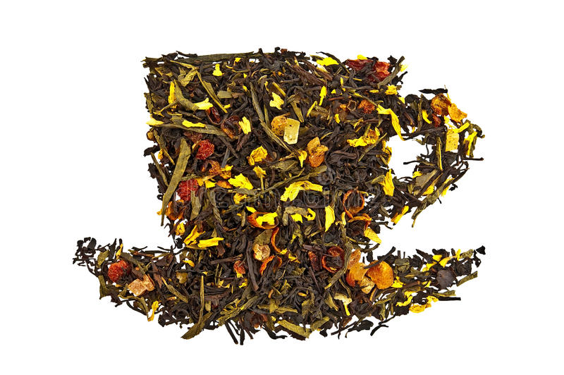 Download Mixture Of Dry Tea In A Cup Royalty Free Stock Image - Image: 20561116
