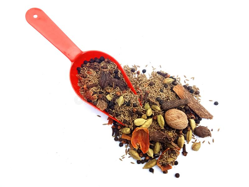 A mixture of ground spices on white background. stock photo