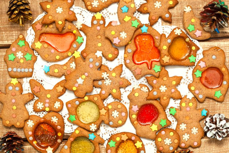 A mixture of many delicious Christmas cookies for the New Year on a wooden background royalty free stock image