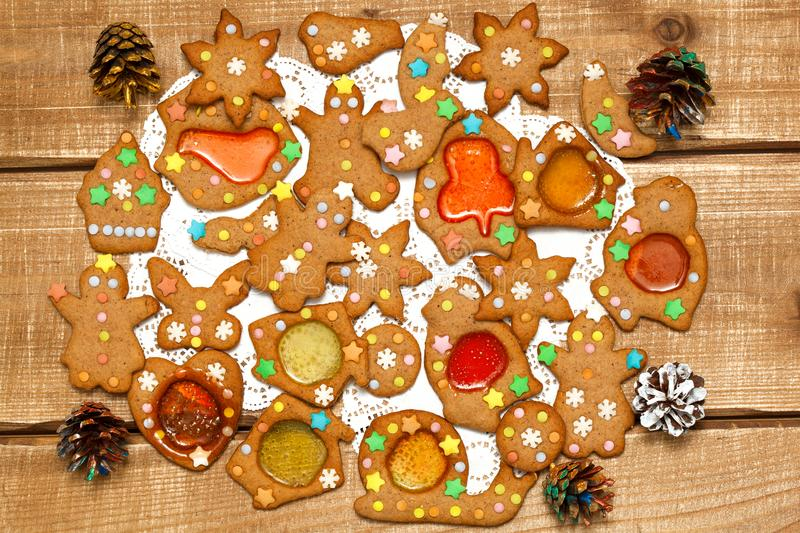 A mixture of many delicious Christmas cookies for the New Year on a wooden background royalty free stock photography