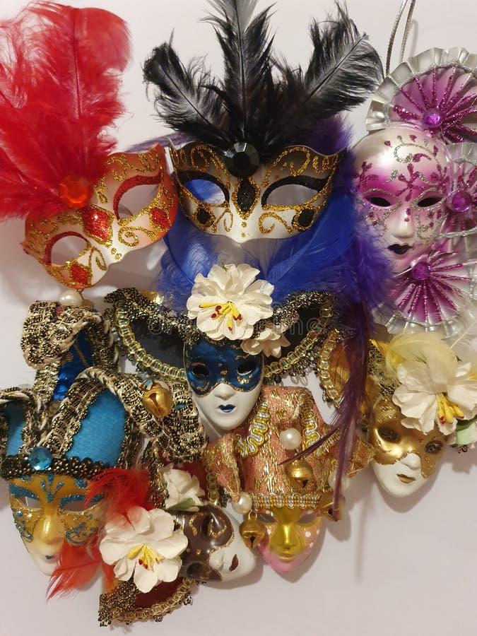 Mixture of masquerade masks stock photo