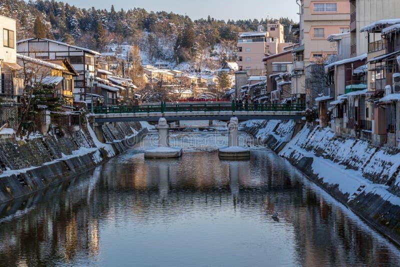 Miyagawanaka River of Takayama town in Winter stock photo