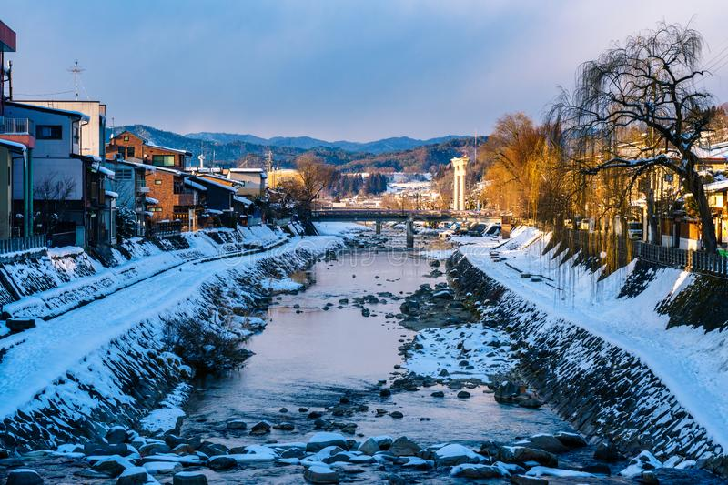Miyagawanaka River of Takayama town in Winter stock image