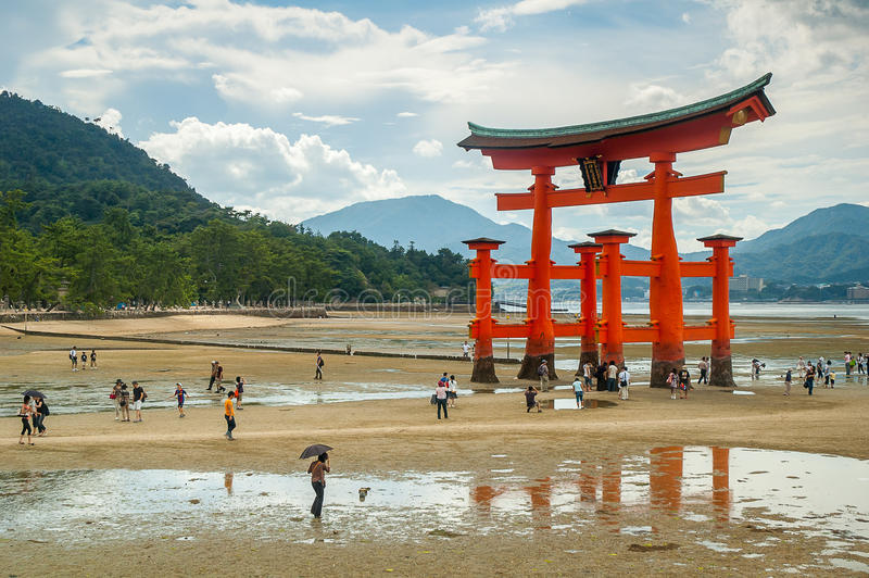 Miyajima gate at Hiroshima. With hills in the background and people, Japan royalty free stock images