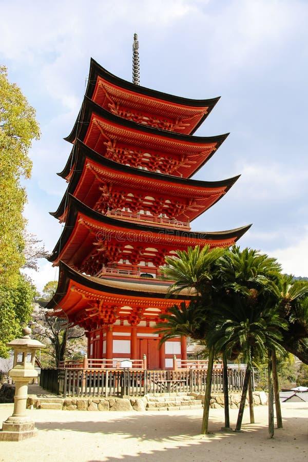 Miyajima Goju-no-to pagoda five storied pagoda in Miyajima Island, Japan.  stock image