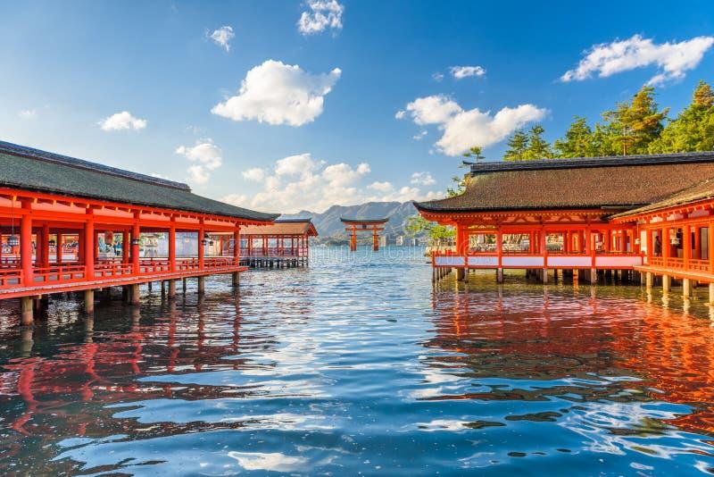 Miyajima, Hiroshima, Japan bij Itsukushima-Heiligdom stock afbeelding