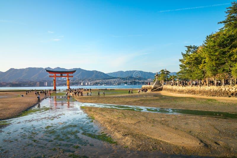The famous Torii Gate, Miyajima Island, Japan. Miyajima Island, Hiroshima Bay, Japan -November 7, 2018: The famous Torii Gate at Itsukushima Shrine, World stock photos