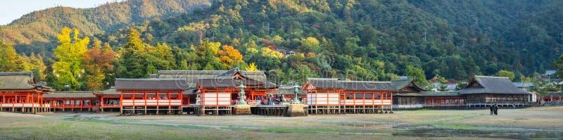 Autumn Panorama at Itsukushima shrine on Miyajima island in Japan. Miyajima Island, Hiroshima Prefecture, Japan -November 7, 2018: Autumn Panorama at the royalty free stock photo