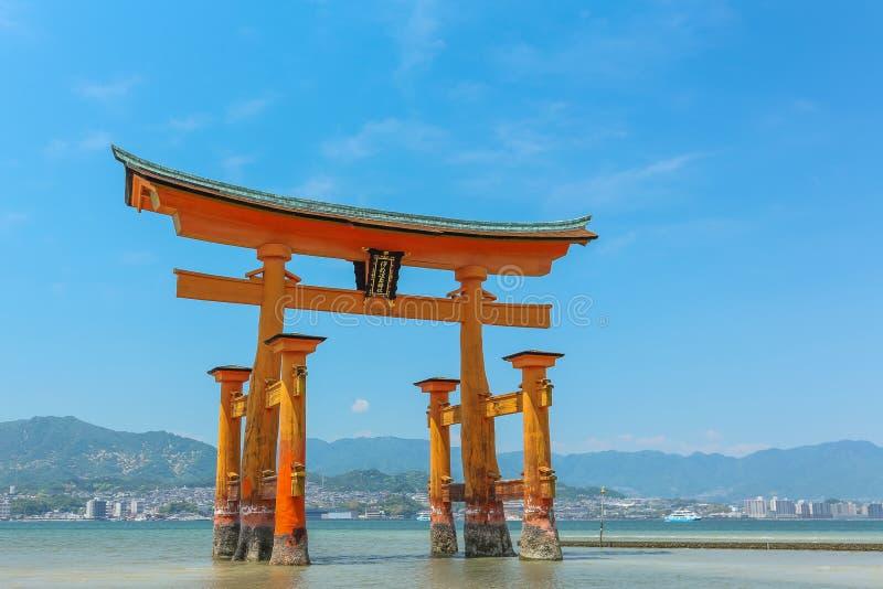 Miyajima island - Itsukushima Floating Torii Gate in the water. Itsukushima Floating Torii Gate in the water on a sunny day at Miyajima island near Hiroshima royalty free stock image