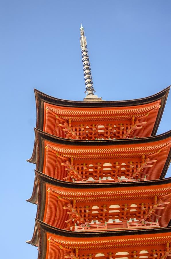 Fragment of Five-storied Pagoda (Gojunoto) at Miyajima island. Japan. MIYAJIMA, JAPAN - AUGUST 21, 2015: Fragment of Five-storied Pagoda (Gojunoto) at Miyajima royalty free stock images