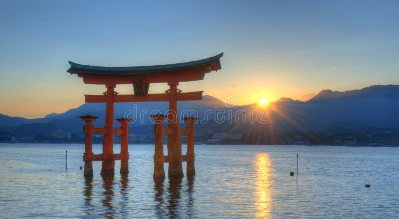 Miyajima Tori Gate. The otori gate which welcomes visitors to Miyajima, Japan stock image