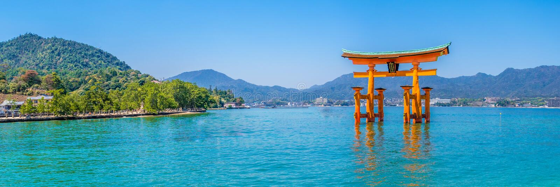 Miyajima. Torii gate in the ocean at Miyajima stock photography