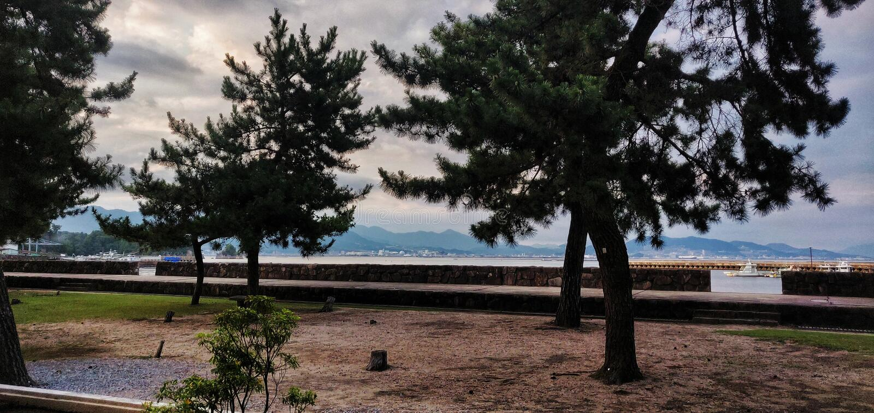 Miyajima widok górski obrazy royalty free