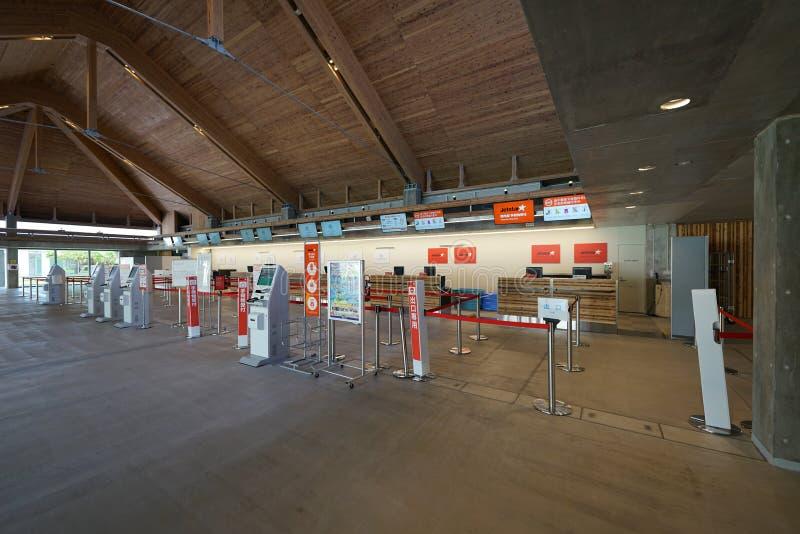 Miyako Shimojishima Airport Terminal-Abfertigungsschalter lizenzfreies stockbild