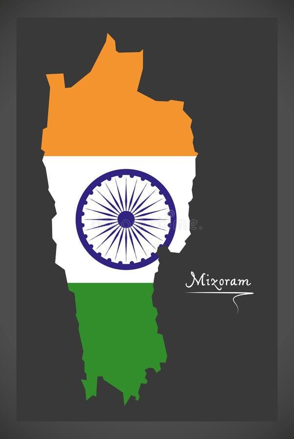 Mizoram mapa z Indiańską flaga państowowa ilustracją ilustracja wektor