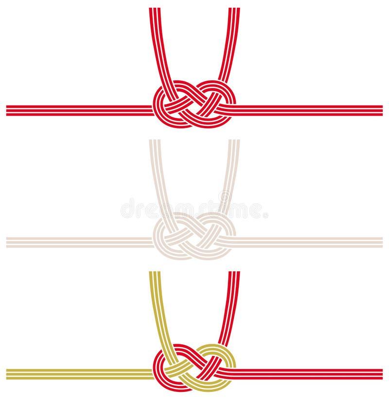 Mizuhiki: διακοσμητικό ιαπωνικό σκοινί που γίνεται από το στριμμένο έγγραφο διανυσματική απεικόνιση