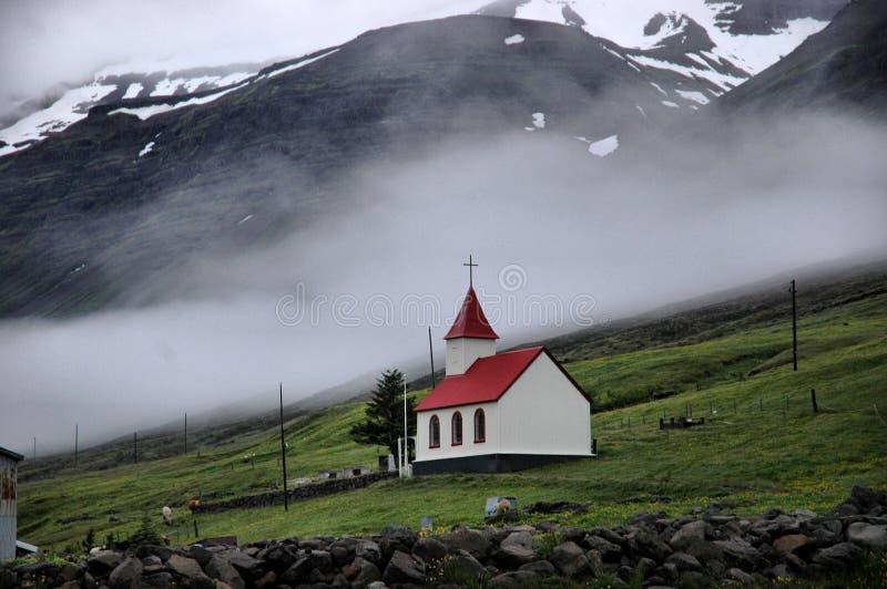 Mjóifjörður, Island stockbilder