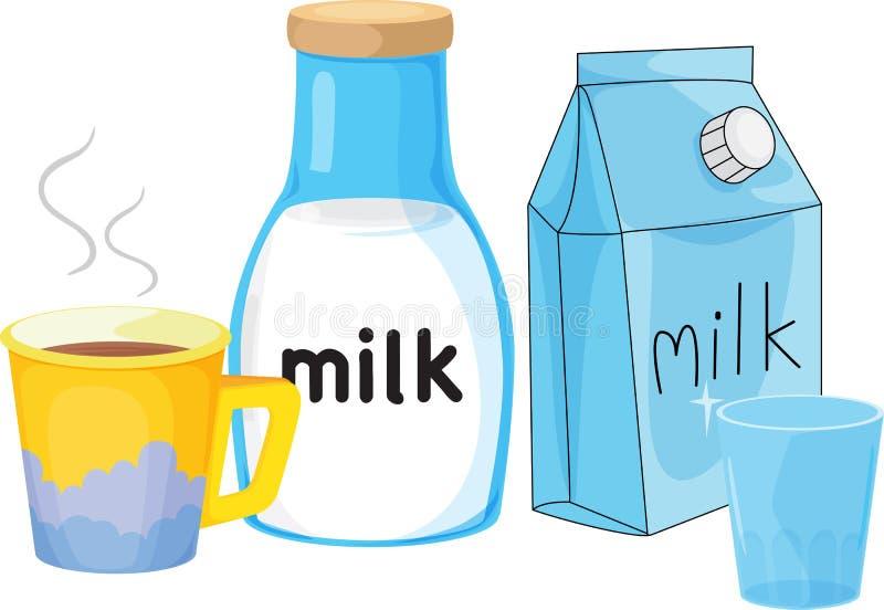 mjölka stock illustrationer