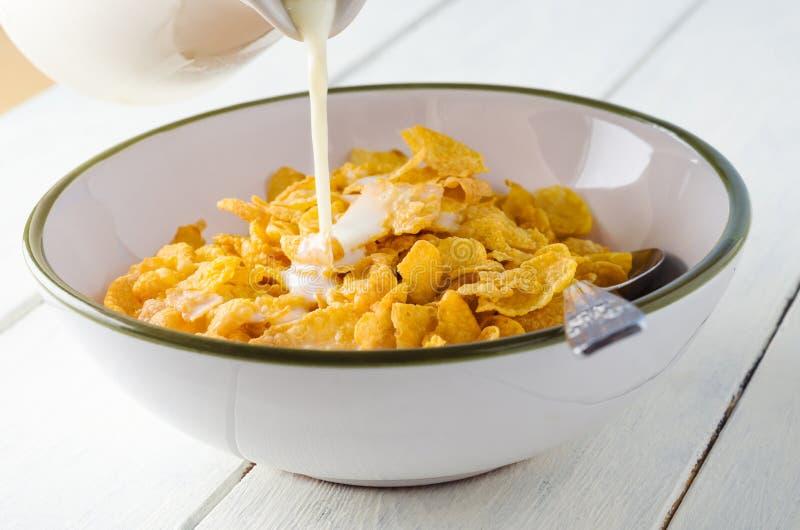 Mjölka att hälla på cornflakes royaltyfria bilder