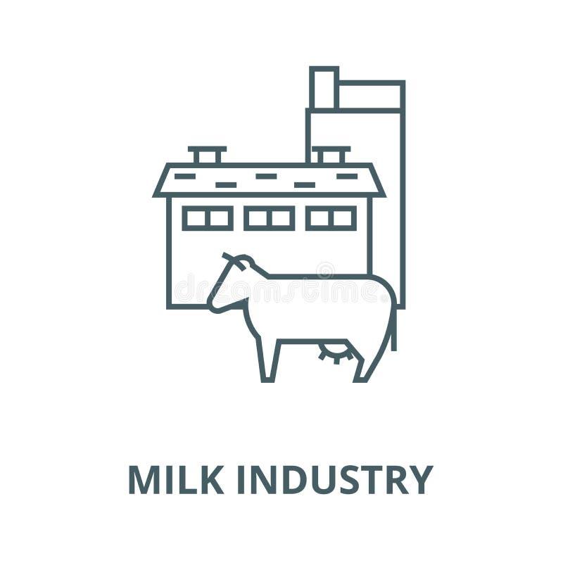 Mjölka branschvektorlinjen symbolen, det linjära begreppet, översiktstecknet, symbol royaltyfri illustrationer