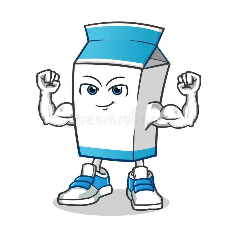 Mjölka den starka illustrationen för tecknade filmen för muskelmaskotvektorn vektor illustrationer