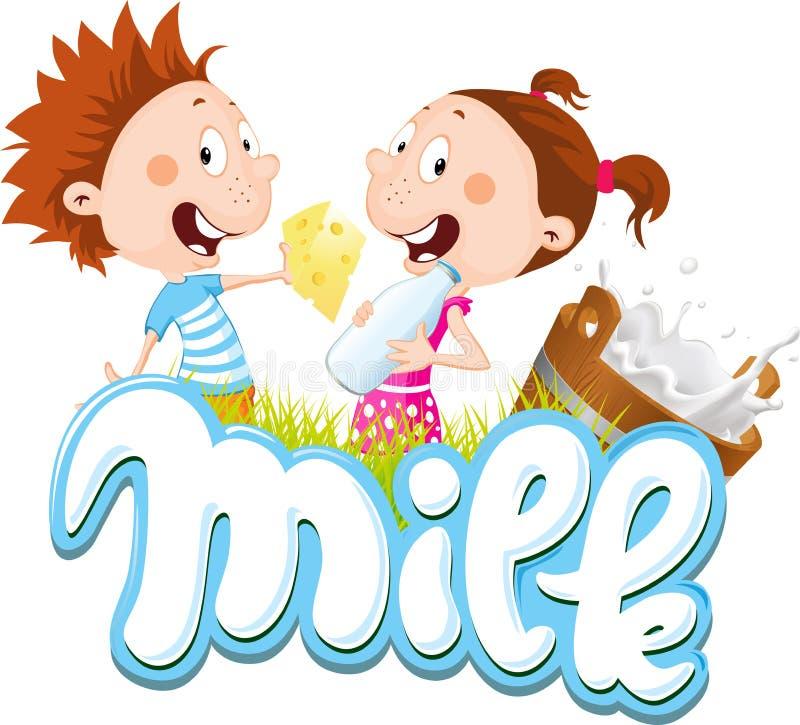 Mjölka designen med barn som äter ost, och dricka mjölka - vektorillustrationen vektor illustrationer
