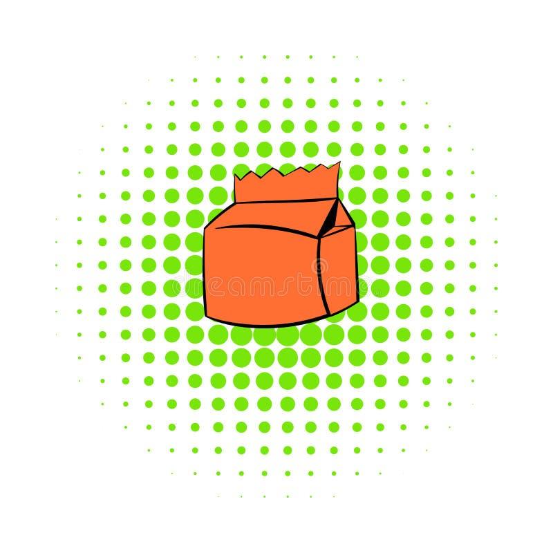 Mjölka, eller symbolen för fruktsaftlådapacken, komiker utformar vektor illustrationer