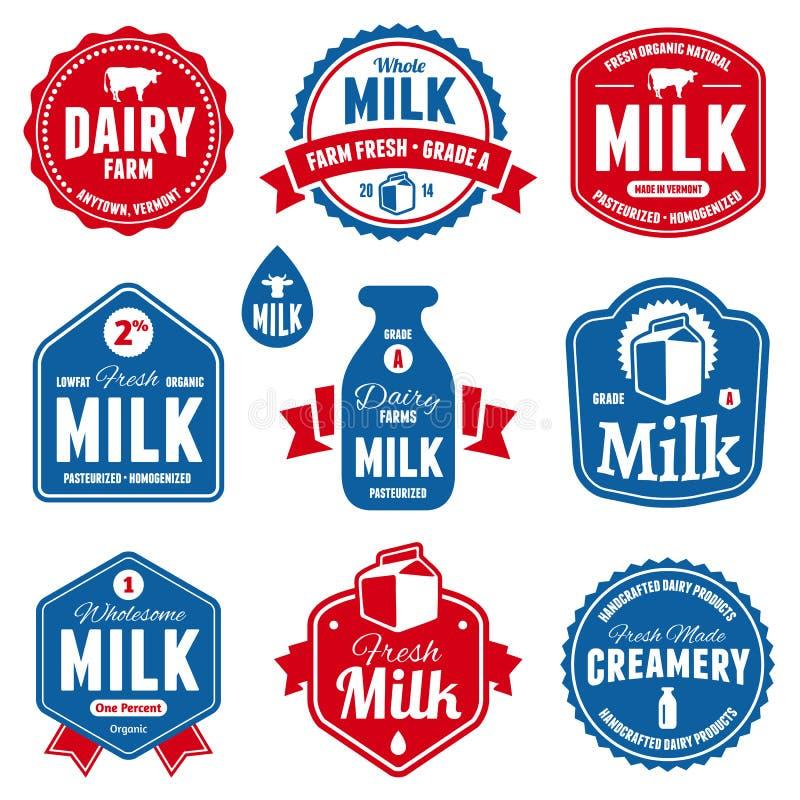 Mjölka etiketter vektor illustrationer