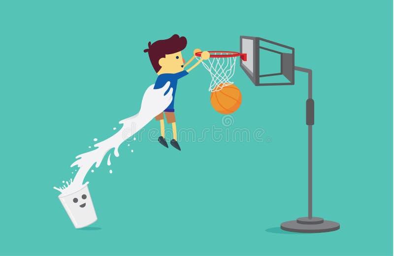 Mjölka exponeringsglas som lyfter en pojke för att skjuta en basket vektor illustrationer