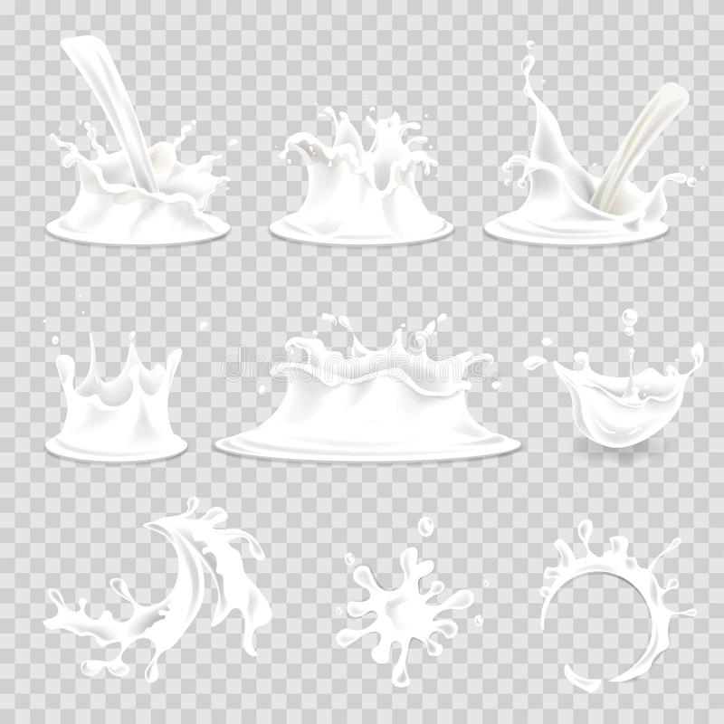 Mjölka för droppvektorn 3d för färgstänk den hällande uppsättningen för symboler realistiska isolerade vektor illustrationer
