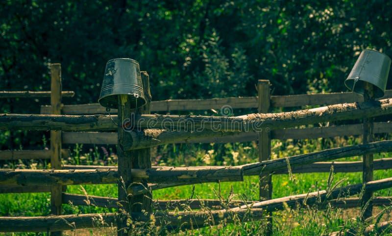 Mjölka hinkar på trästaketet, Sadova, Seceava, Rumänien royaltyfri foto