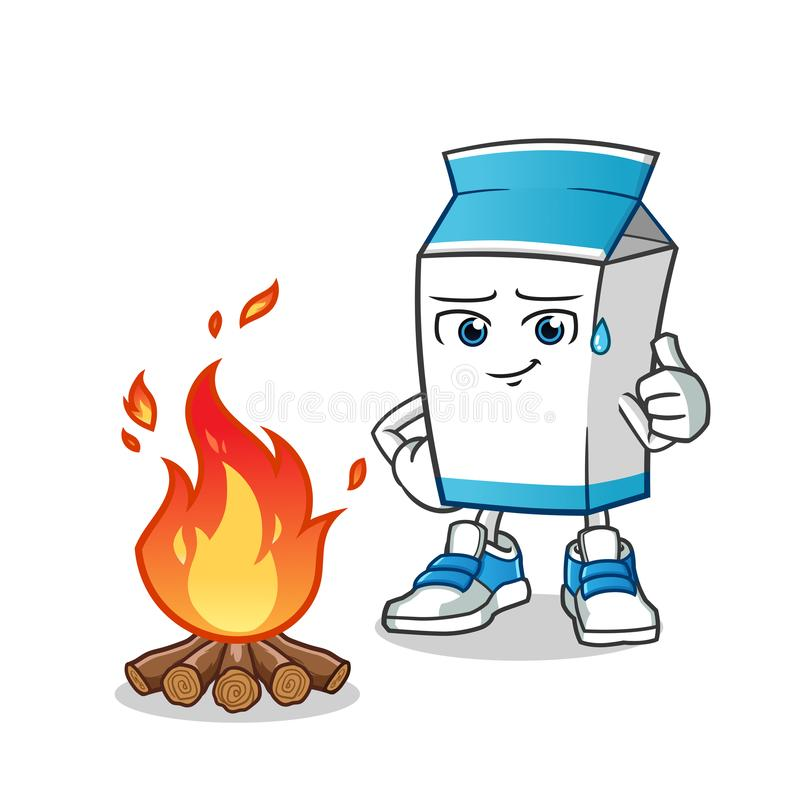 Mjölka illustrationen för tecknade filmen för vektorn för lägerbrandmaskot vektor illustrationer