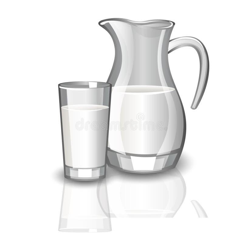 Mjölka karaffen, kopp av mjölkar stock illustrationer