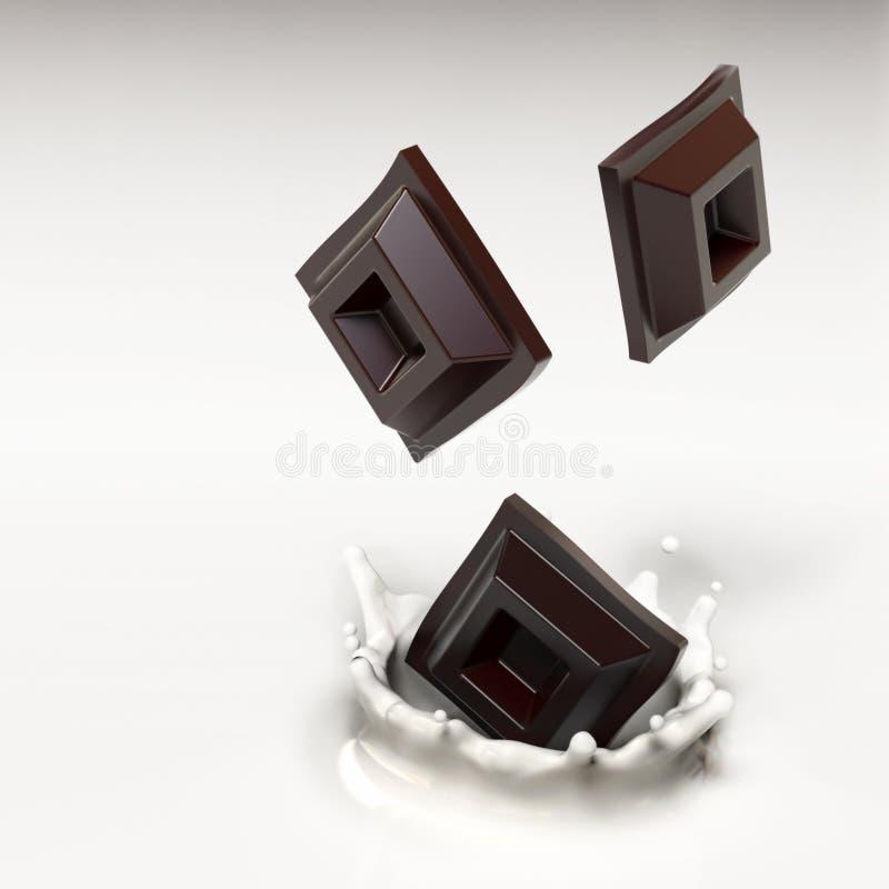 Mjölka kräm med choklad vektor illustrationer
