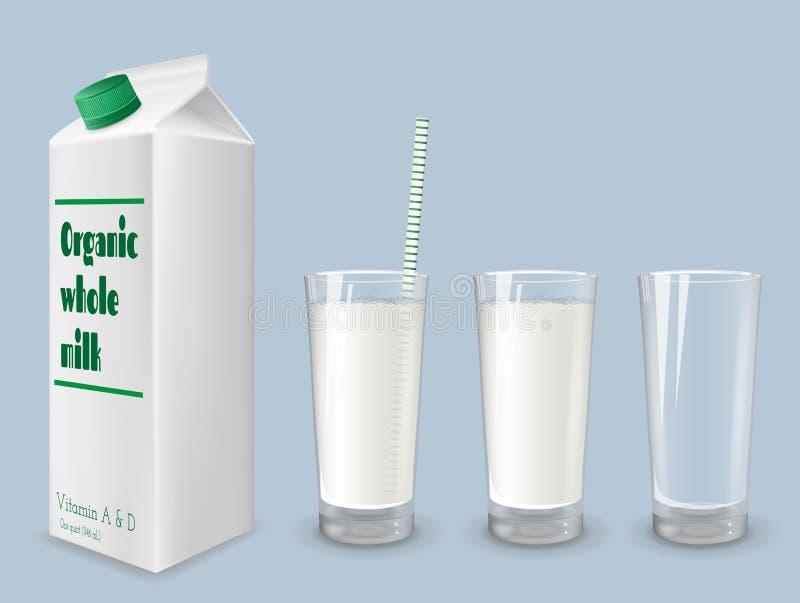 Mjölka lådan, och exponeringsglas av helhet mjölkar vektor illustrationer