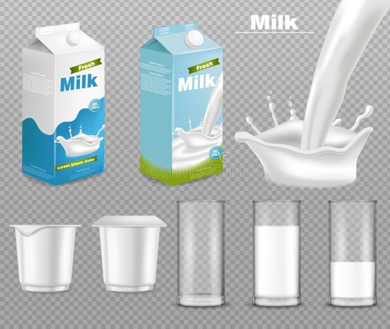 Mjölka och den realistiska yoghurtpackevektorn Mejeriproduktplaceringsåtlöje upp Geometriska former Mjölka pladask isolerat på stock illustrationer