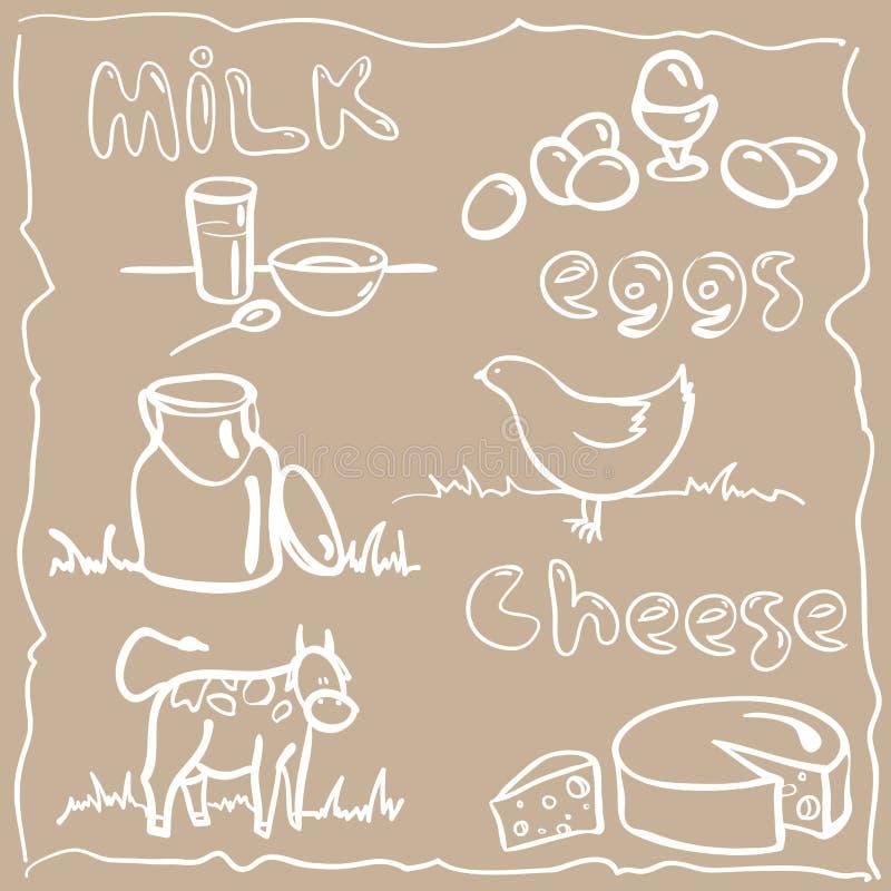 Mjölka och gårdsprodukter vektor illustrationer