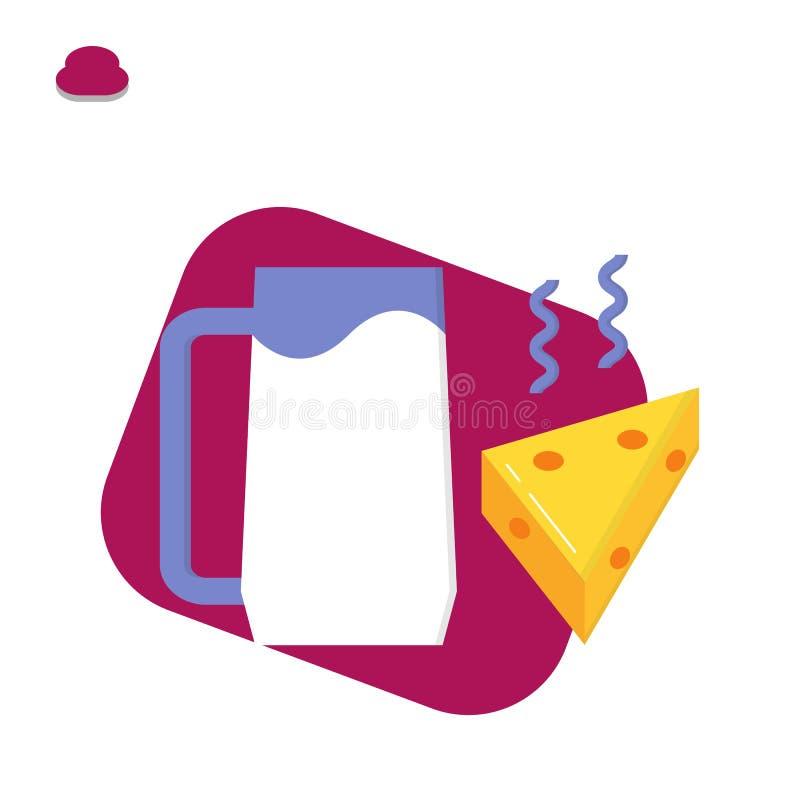Mjölka och sund ost som är läcker och royaltyfri illustrationer
