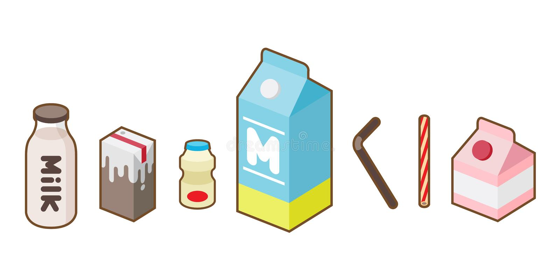 Mjölka packen för illustrationen för vektorn för symbolen för yoghurtfruktsaftflaskan stock illustrationer