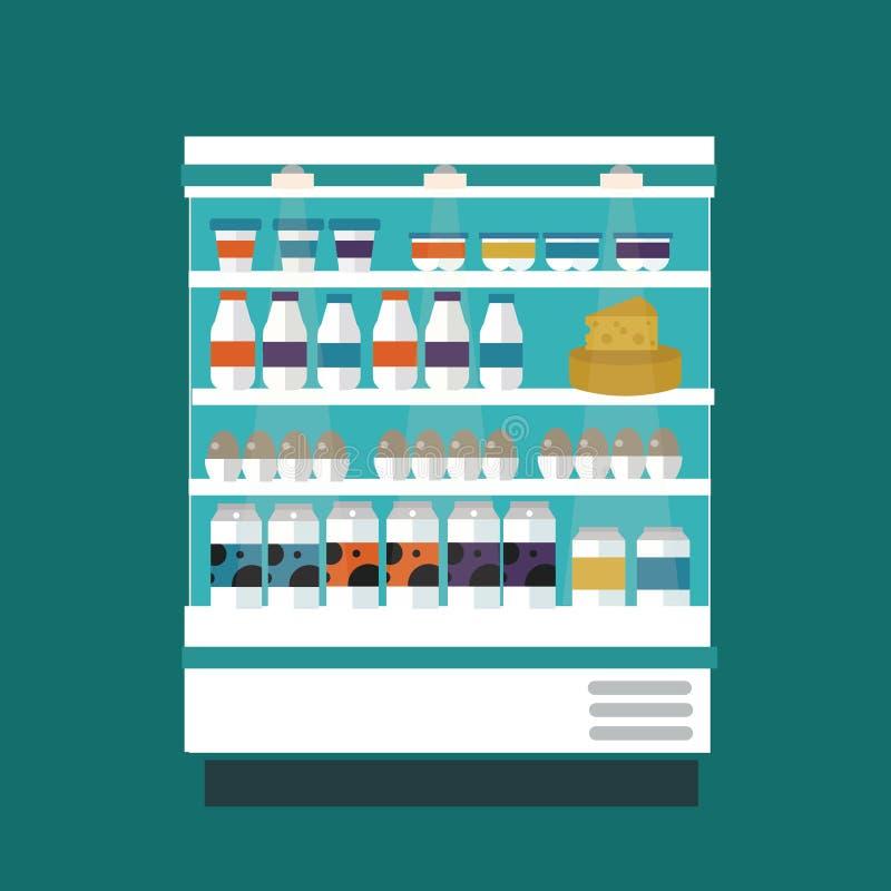 Mjölka produkter shoppar stallen royaltyfri illustrationer