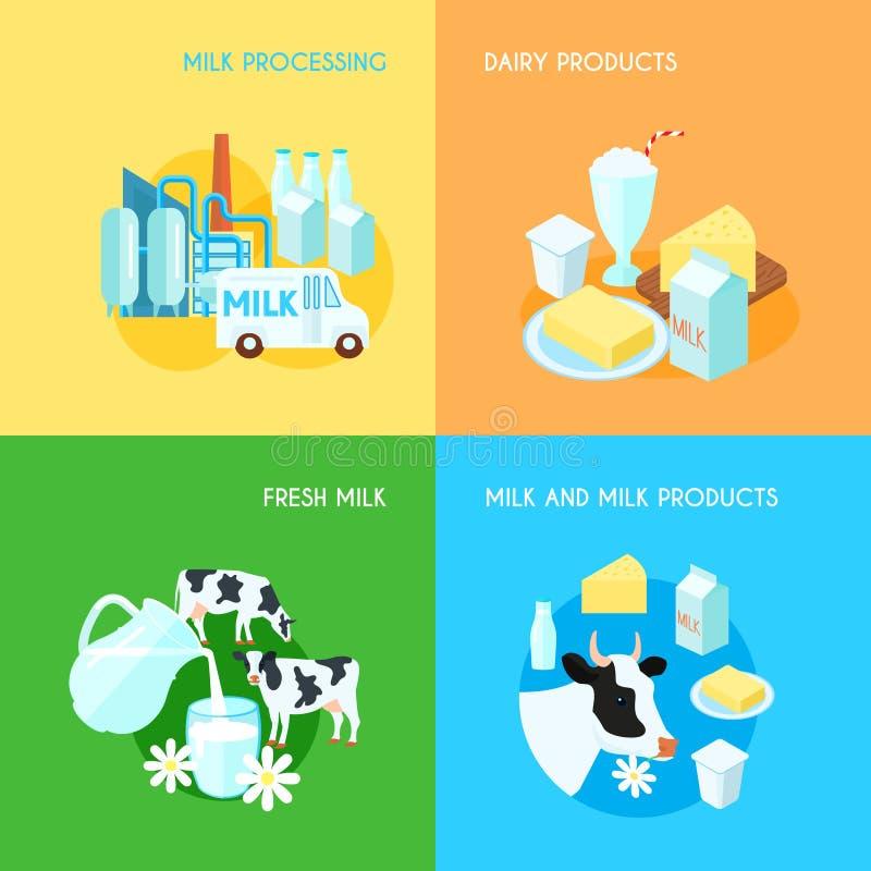 Mjölka sammansättning för 4 symboler för lägenhet fyrkantig stock illustrationer
