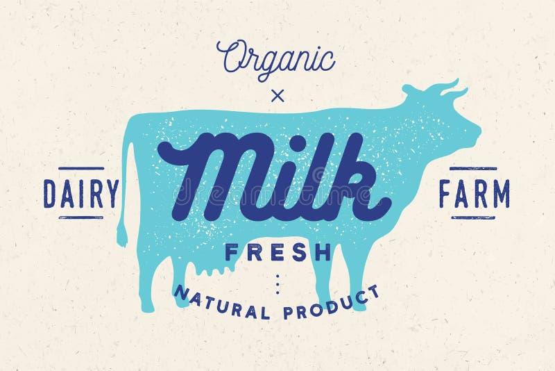 Mjölka, skrämma Logoen med kokonturn, text mjölkar, mejerilantgården stock illustrationer