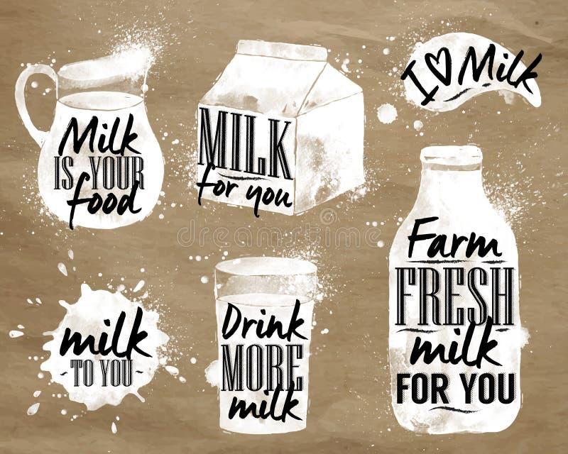 Mjölka symboliska dra kraft vektor illustrationer