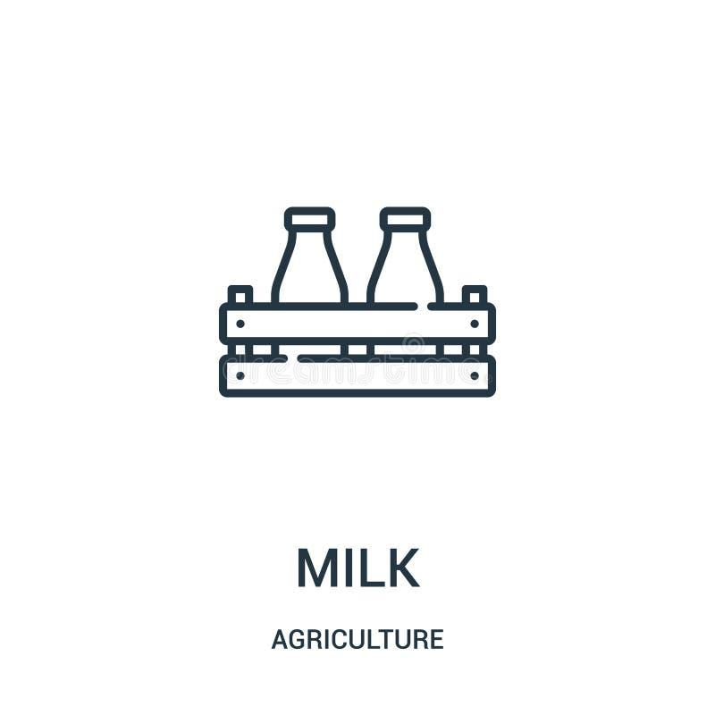 mjölka symbolsvektorn från åkerbruk samling r Linjärt symbol för bruk på rengöringsduk och royaltyfri illustrationer