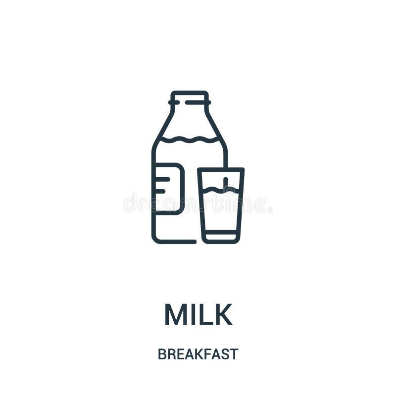 mjölka symbolsvektorn från frukostsamling r Linjärt symbol för bruk på rengöringsduk och stock illustrationer