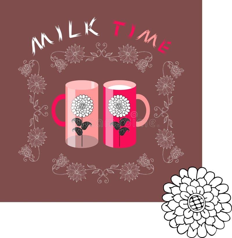 Mjölka tid rengöringsduk för tappning för mall för sida för bakgrundskorthälsning universal Två koppar med blommor i blom- ram royaltyfri illustrationer